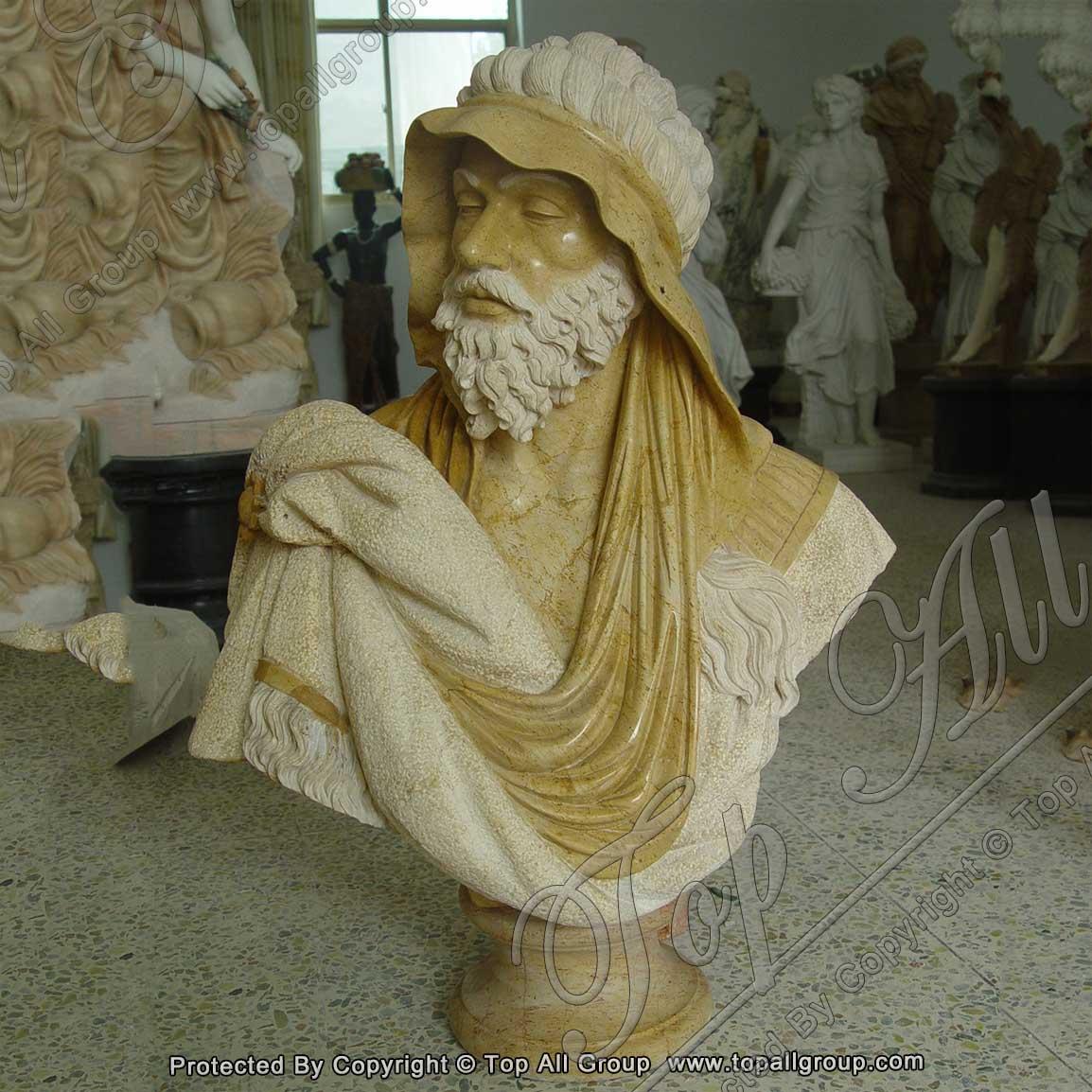 Antique marble roman bust statue
