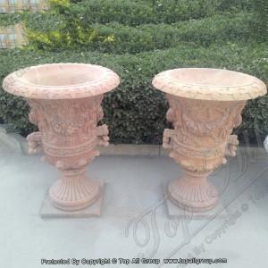 Beige marble flowerpot large outdoor vases TAFV-047