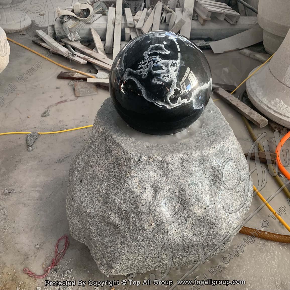 Black Granite Ball Fountain White Base