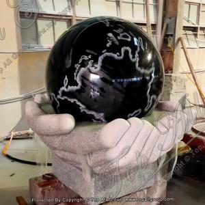 Black Granite Sphere In Both Hand Base Fountain TASBF-036