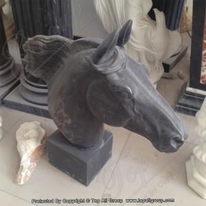 Black Marble Horse Head Sculpture TAAS-003