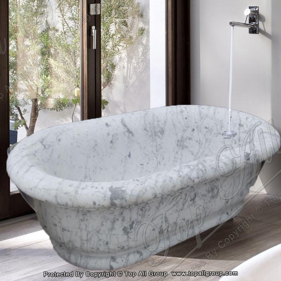 Carrara white marble bathtub