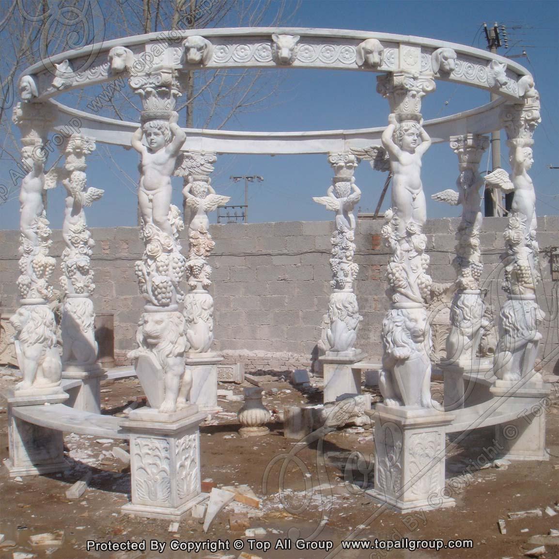 Carved Cherub Marble Gazebo