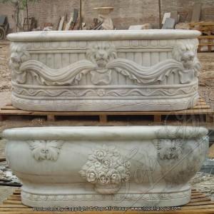 Carved Lion Head Marble Bathtub TABT-013