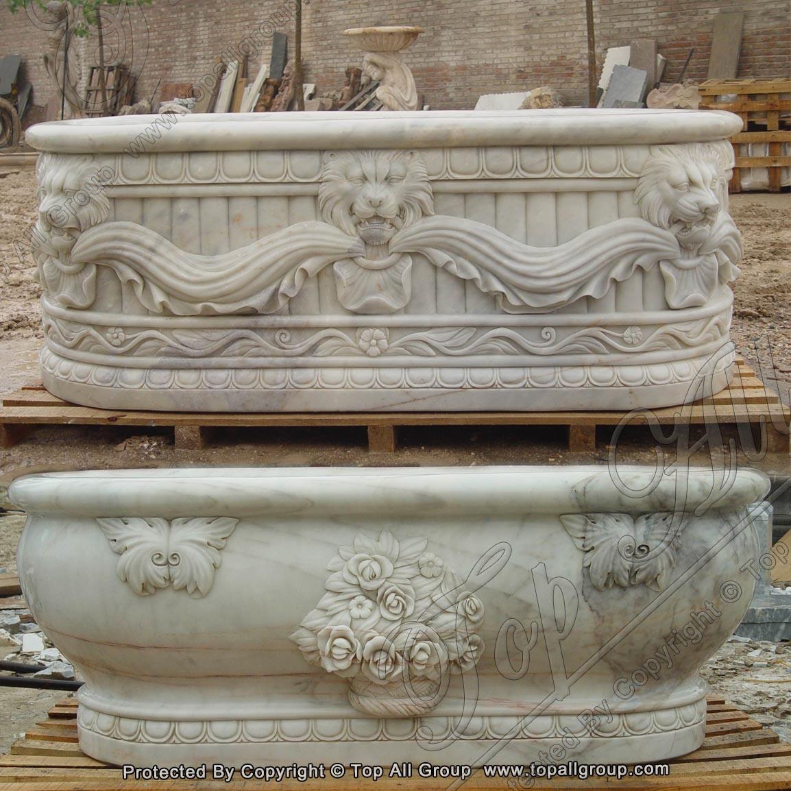 Carved Lion Head Marble Bathtub