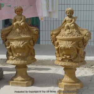 Carved cherub yellow marble flower pot TAFV-048