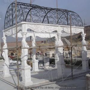Carved women White marble gazebo TAGG-010