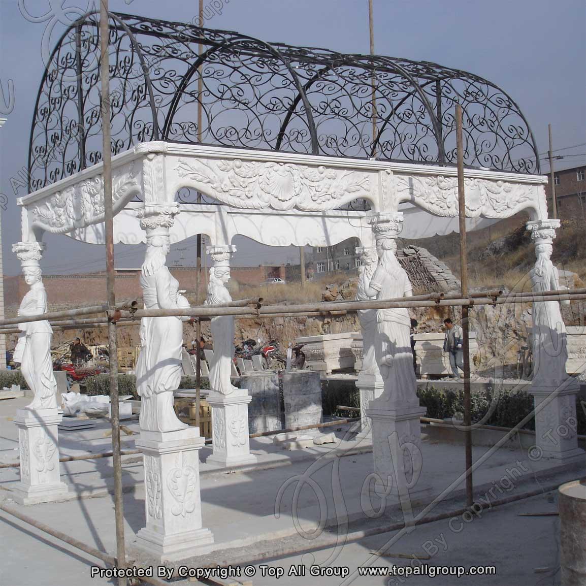 Carved women White marble gazebo