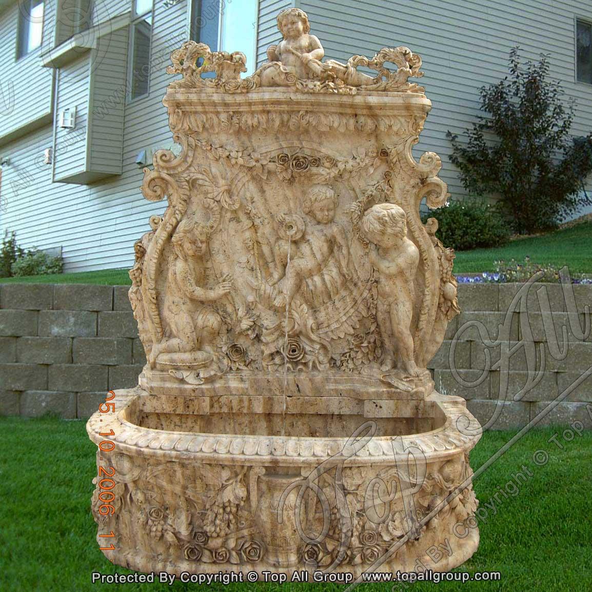 Carving Folower Cherub Yellow Marble Wall Fountain
