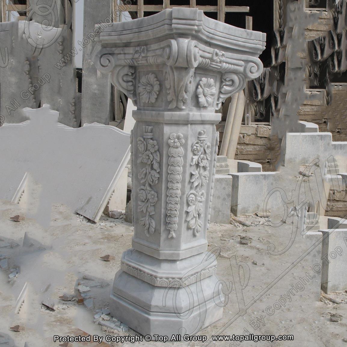 Carving flower white marble column