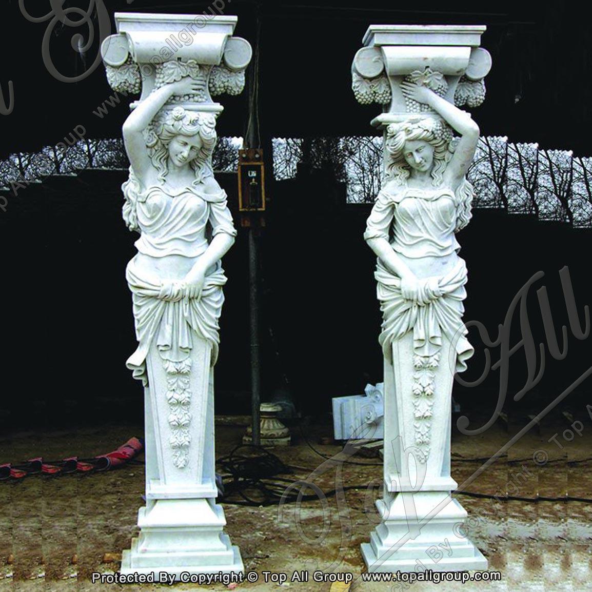 Carving sculpture women marble column