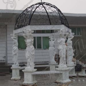 Carving white marble garden gazebo TAGG-011