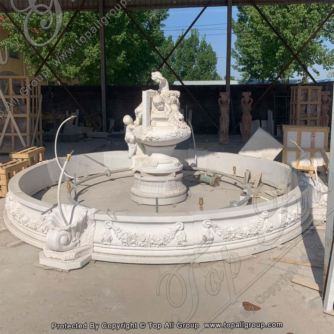 Cherub Statue White Marble Fountain