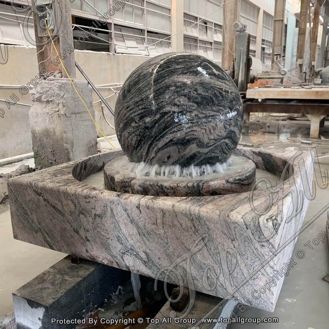 Cloudscape Granite Rolling Sphere Fountain with Nature Square Base