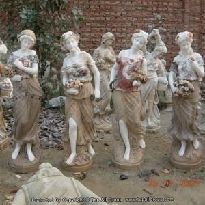 Green marble women four season sculpture for garden TPFSS-031