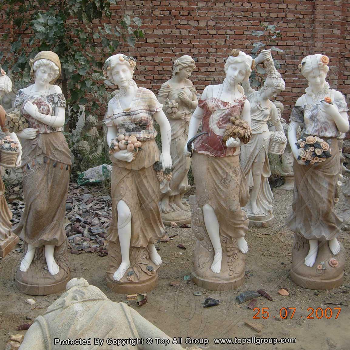 Colorful marble women four season sculpture for garden