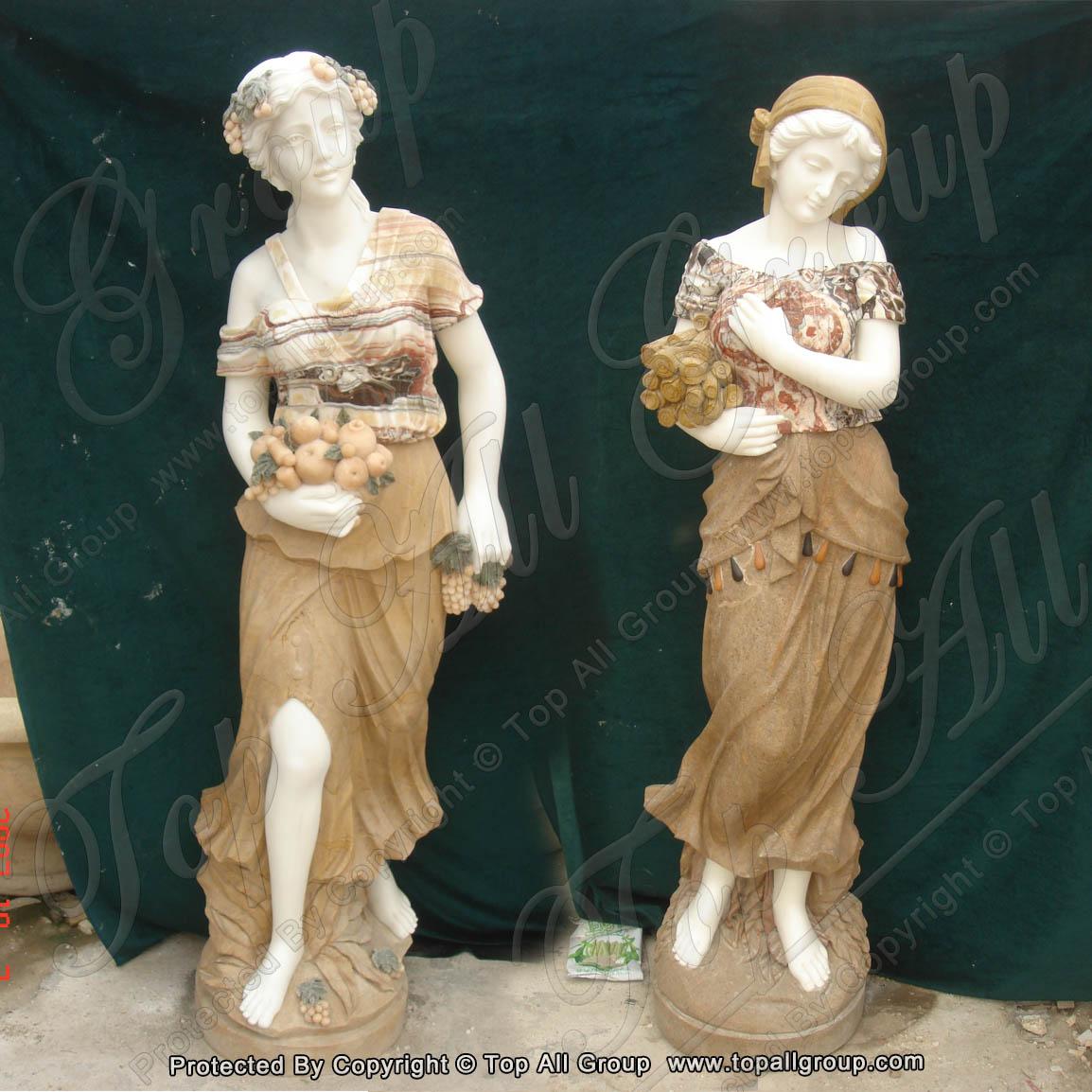 Colorful marble women four season statue for garden