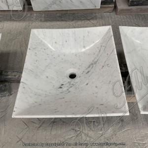 Customized White Marble Stone Bathroom Sink TASS-008