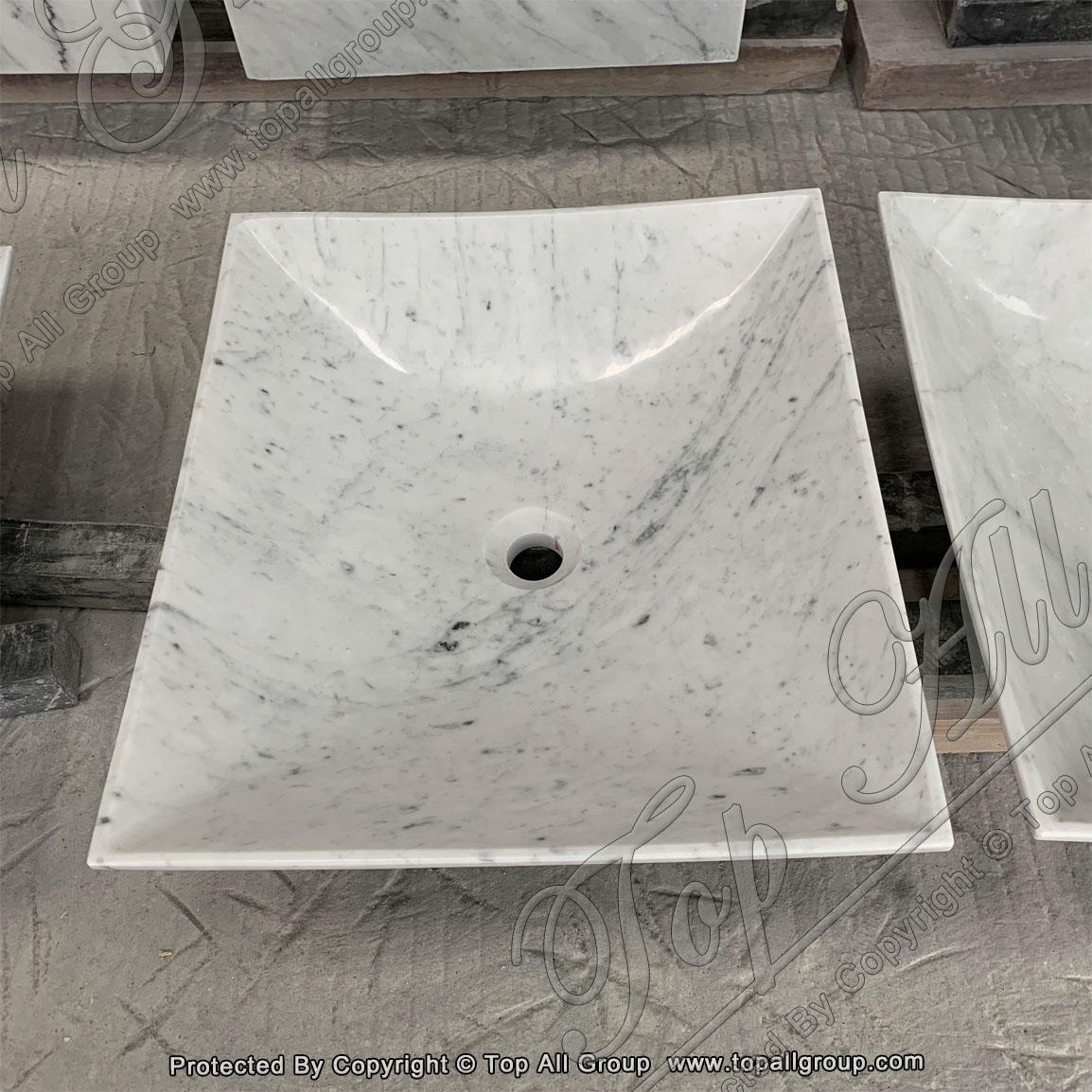 Customized White Marble Stone Bathroom Sink