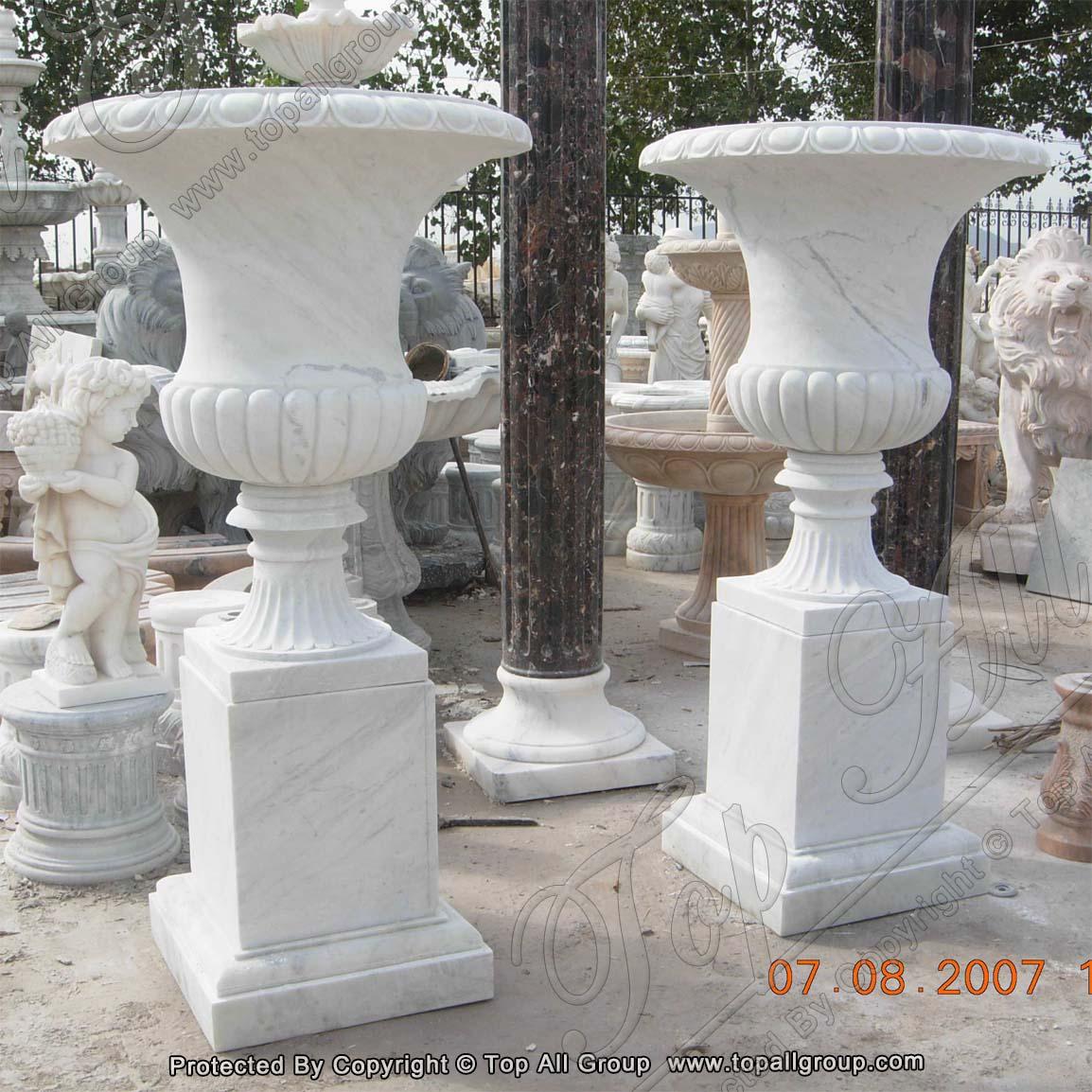 Decorative Garden Western Style Marble Flowerpots