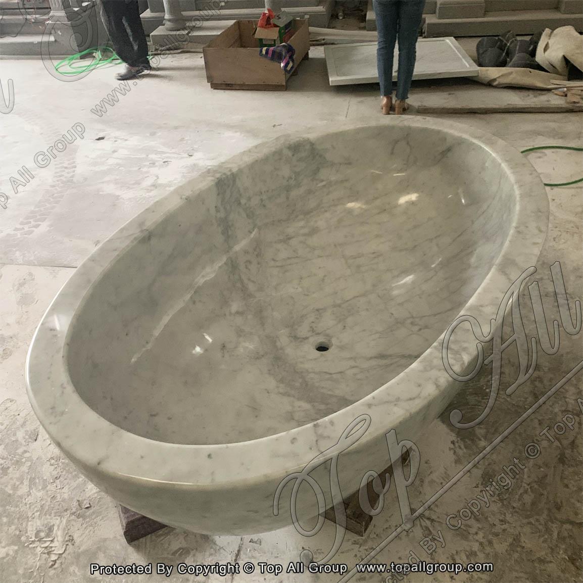 Egg Plus White Marble Free Standing Bathtub