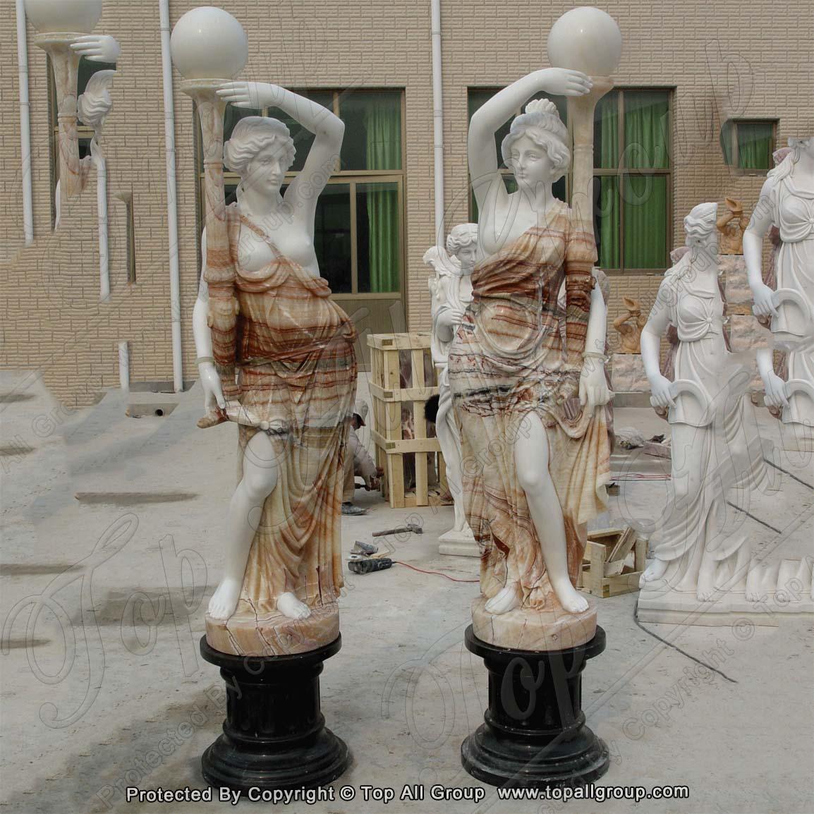 Garden Decoration Antique Marble Lady Lamp Statues
