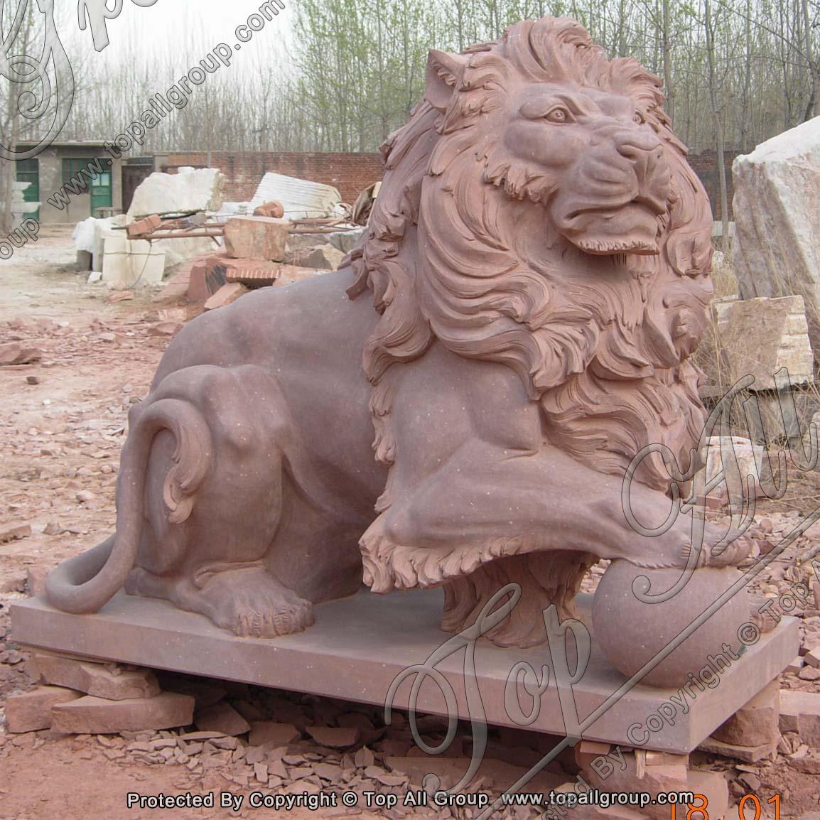 Garden Red Marble Lion Statue