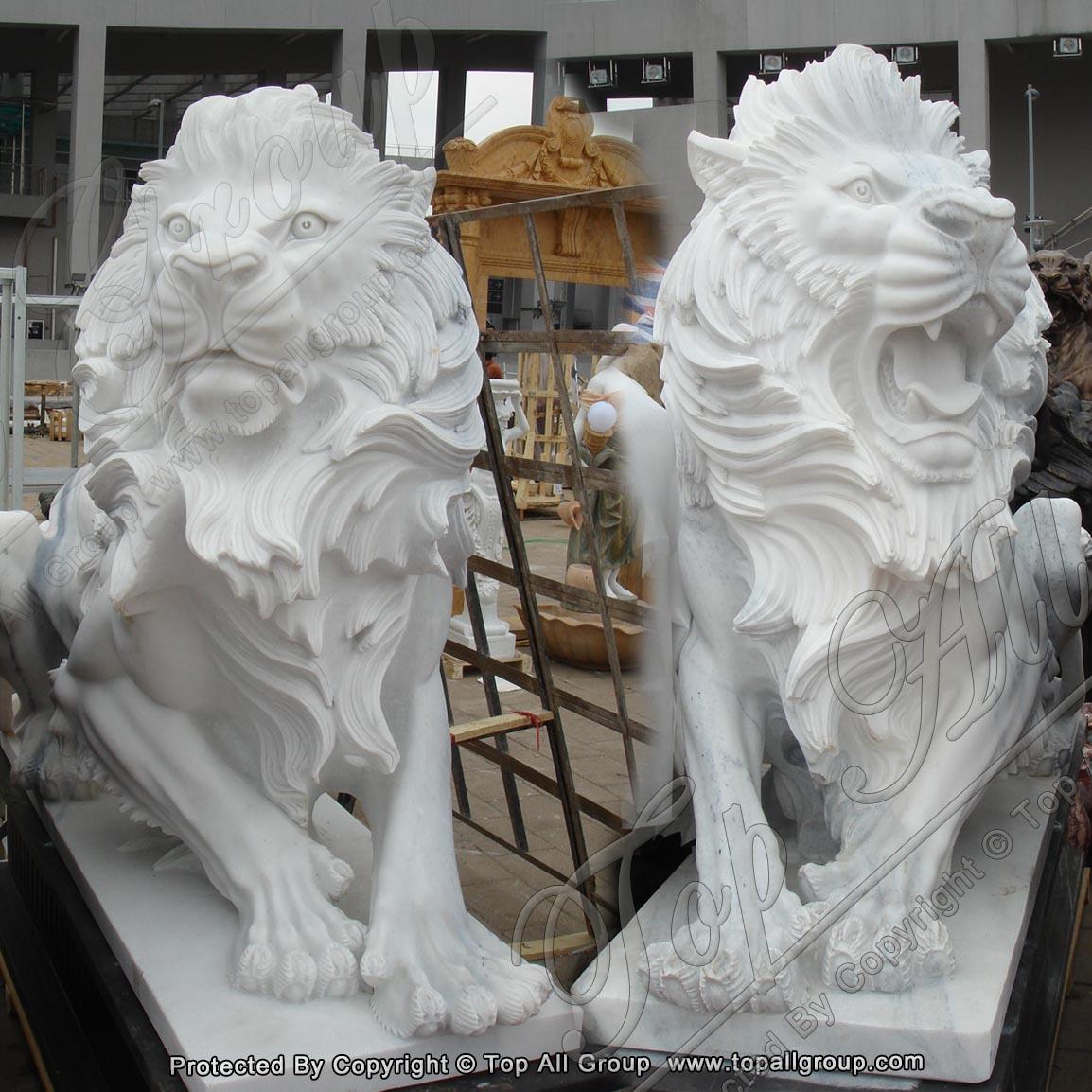 Garden White marble lion Statue
