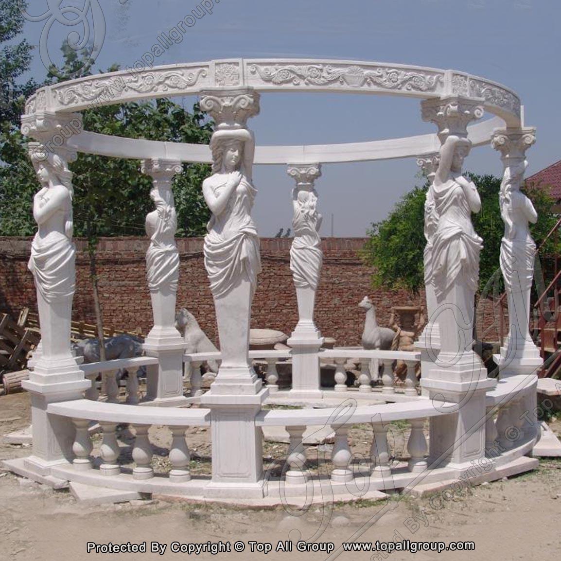 Garden gazebo with marble sculpture