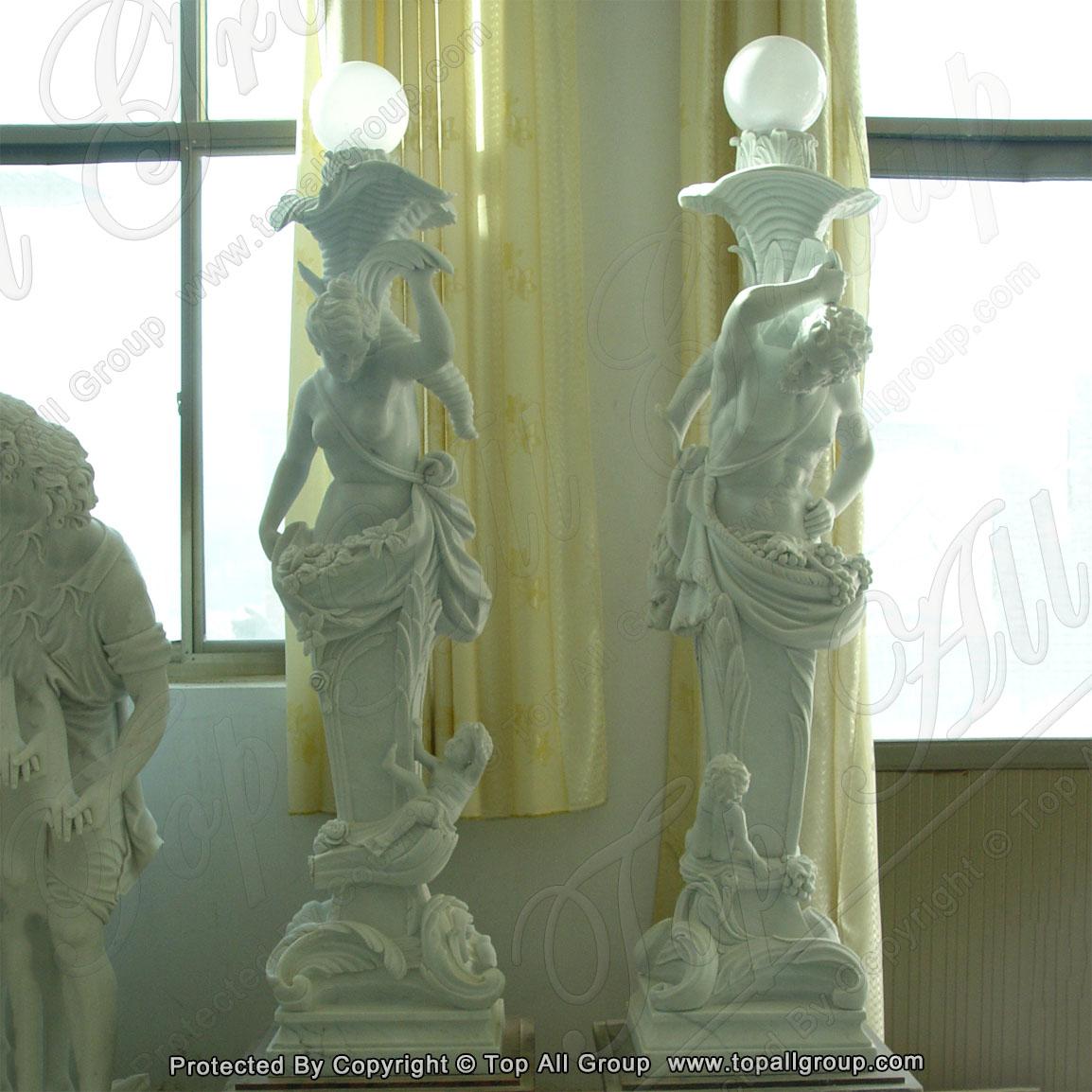 Garden woman statue lamp