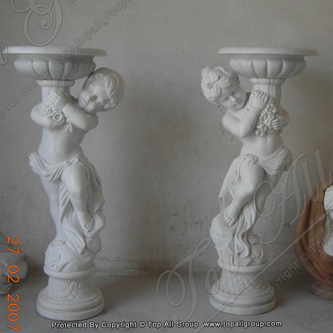 Graden marble flowerpot with baby statue