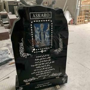 Black Granite Holy family headstone tombstone TATBS-012