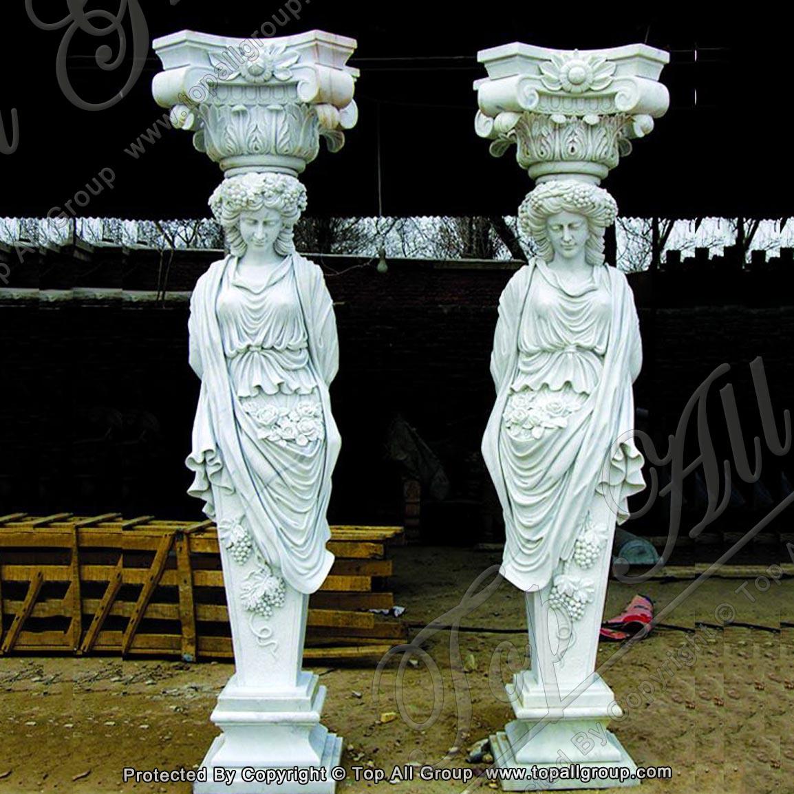 Hand Carved Beautiful Roman Woman Caryatid Marble Column