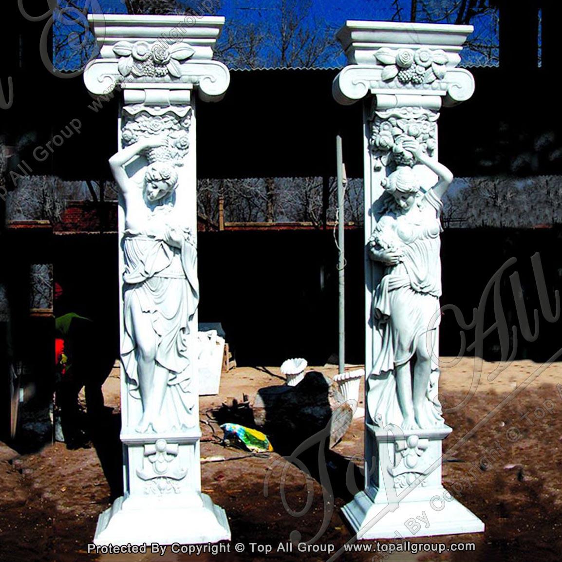 High Quality Roman Column Marble pillar Hotel Decorated Stone