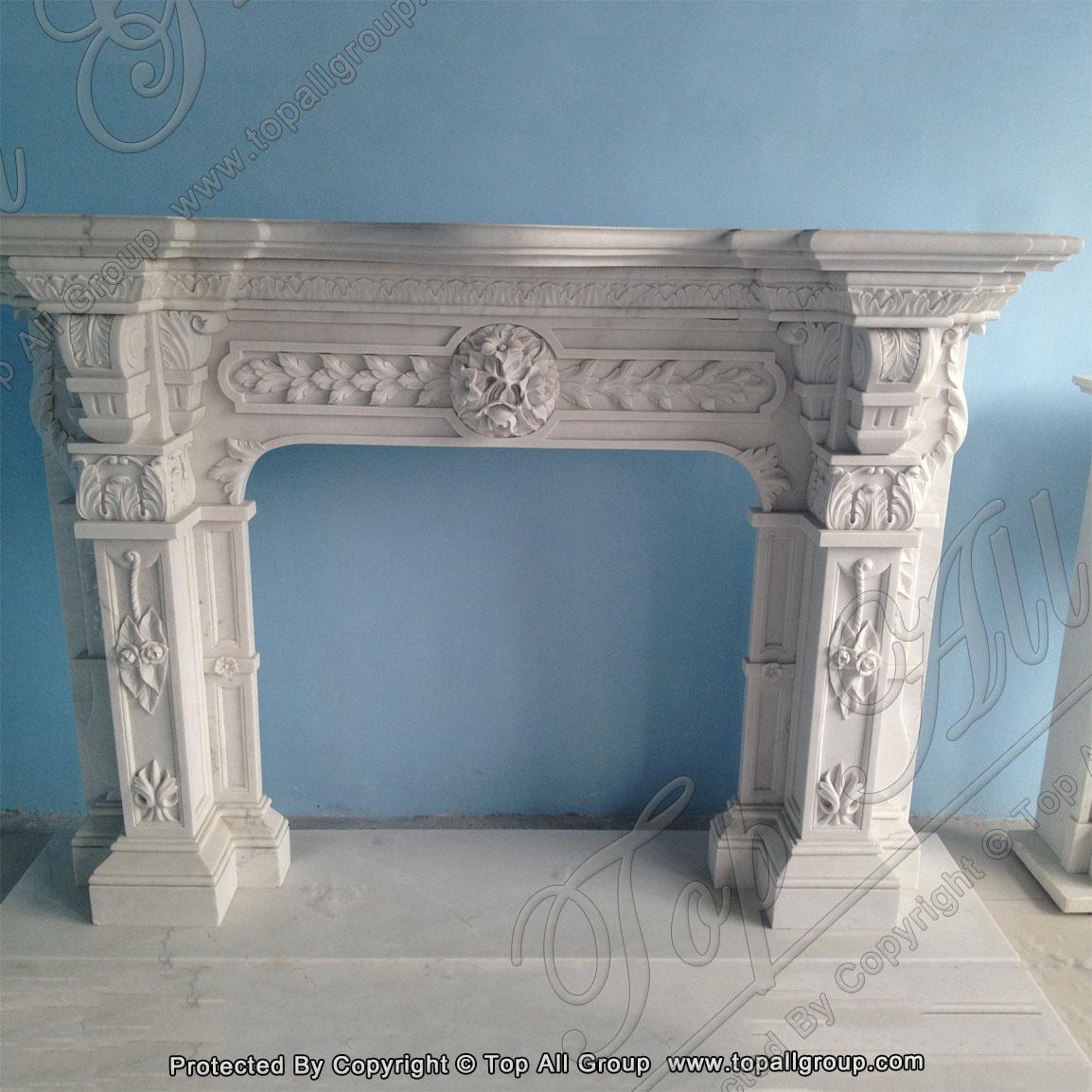 Home decoration elegant natural indoor carved marble fireplace