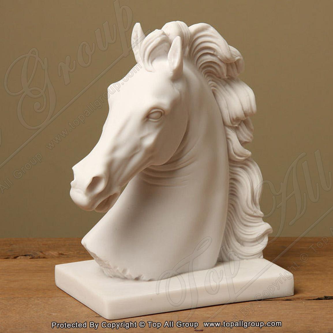 Horse Head White Marble Statue