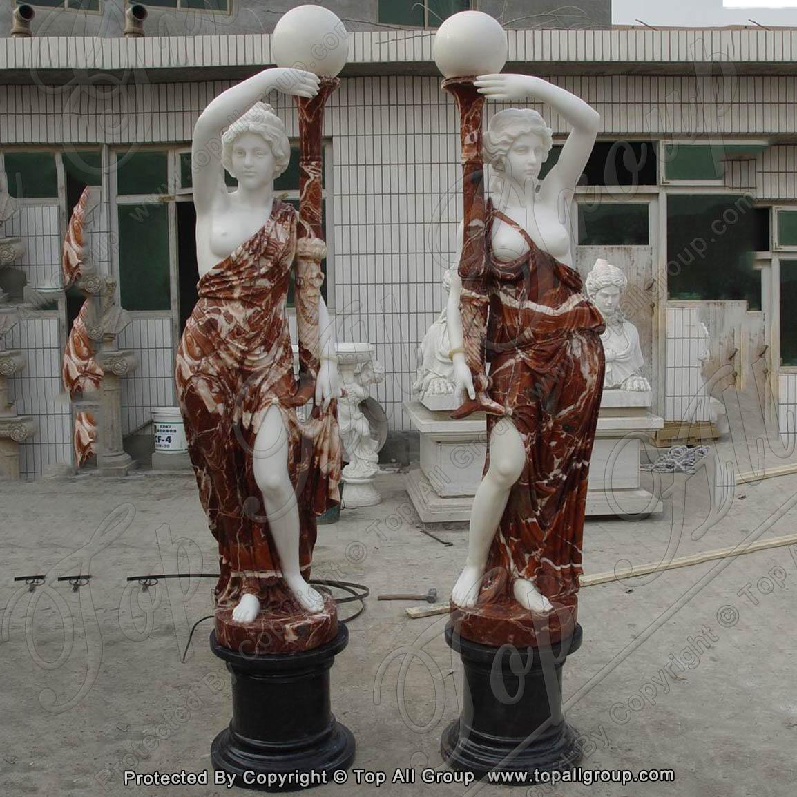 Imitate unique design marble lady lamp sculpture