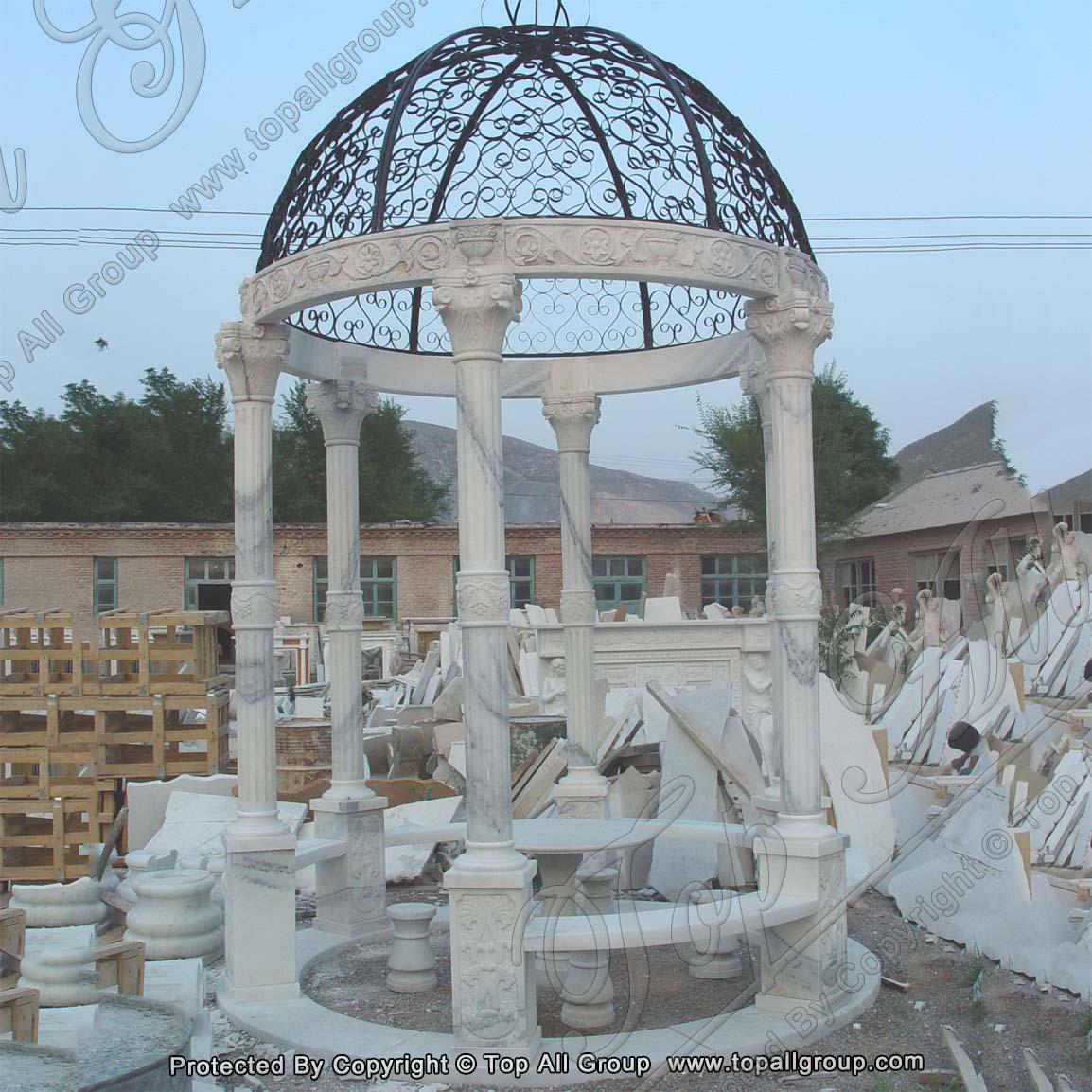 Iron Roof Marble Gazebo