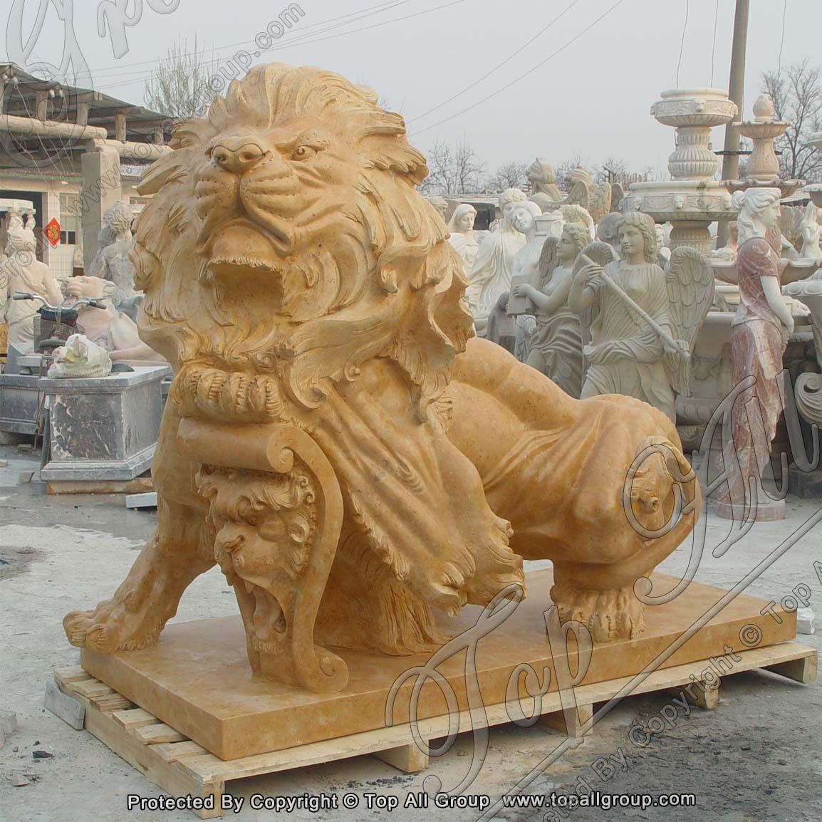 L200 Garden Yellow Marble Lion Sculpture