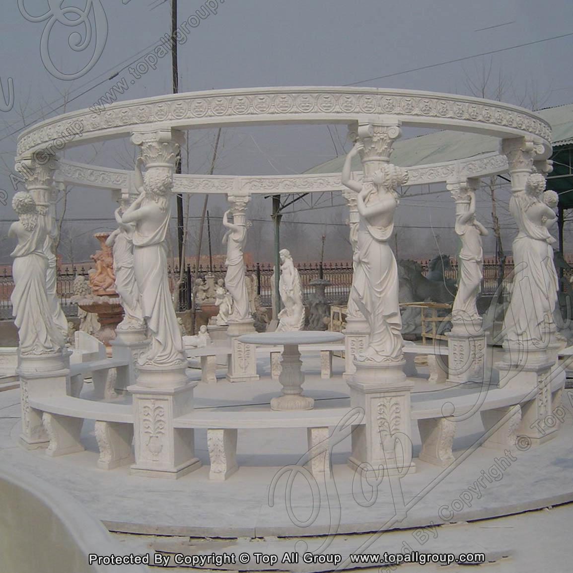 Large Garden Stone Round Gazebo Marble Statue Pavilion