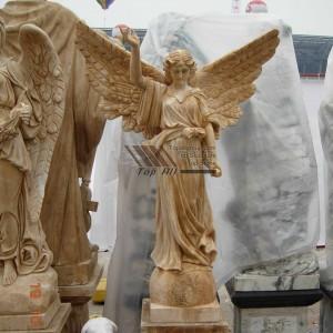 Life Size Yellow Marble Angel Sculpture TSAS-011