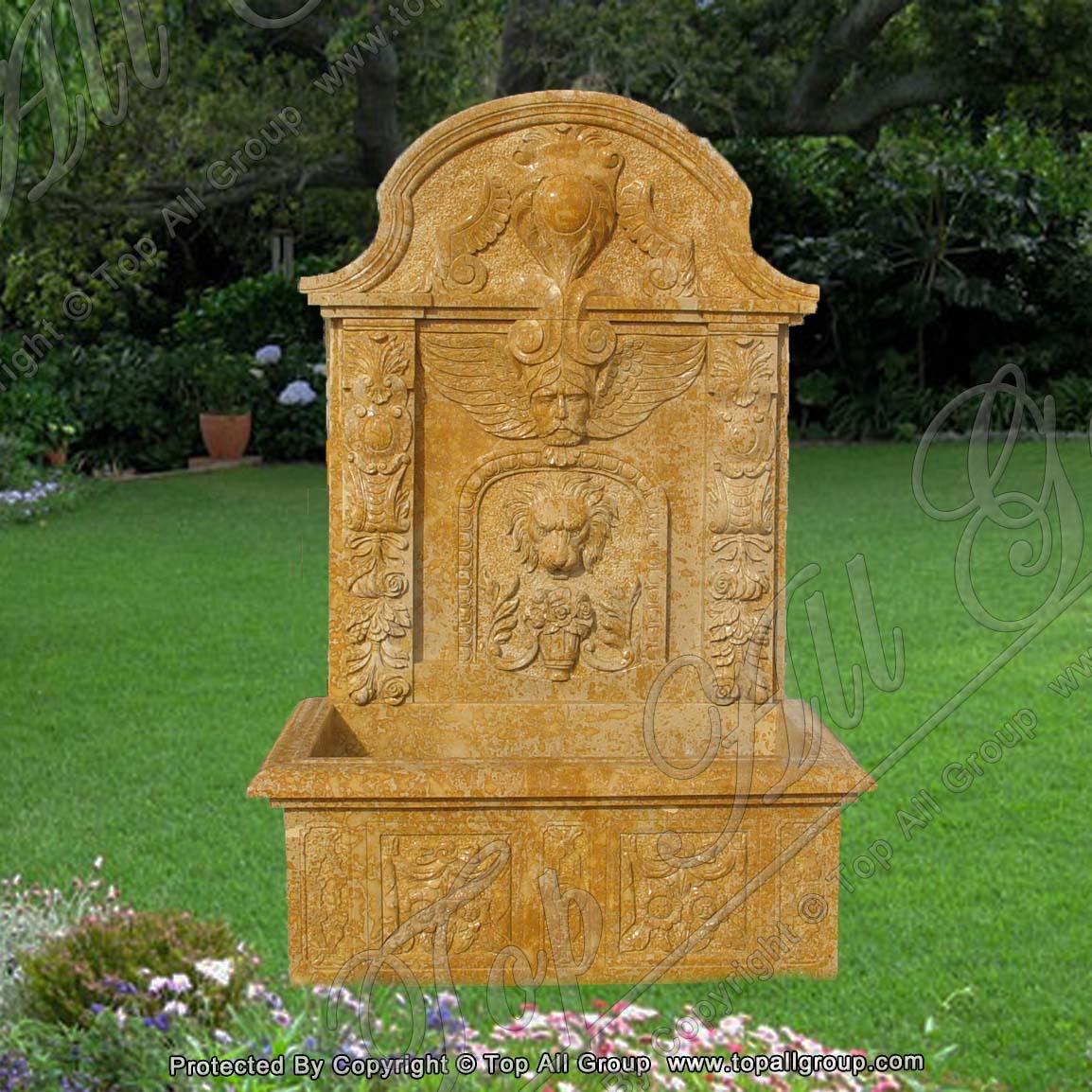 Lion Head Statue Marble Wall Fountain