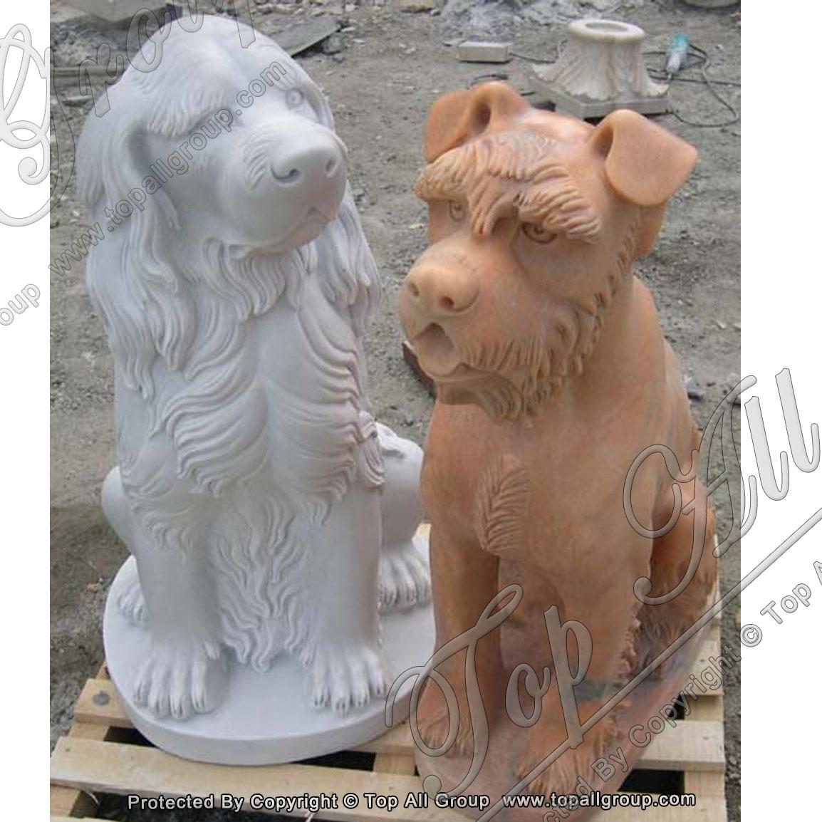 Marble Animal Statue Dog Sculpture For Garden