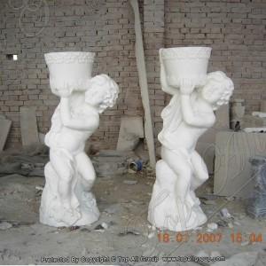 Marble baby statue flower pot TAFV-018