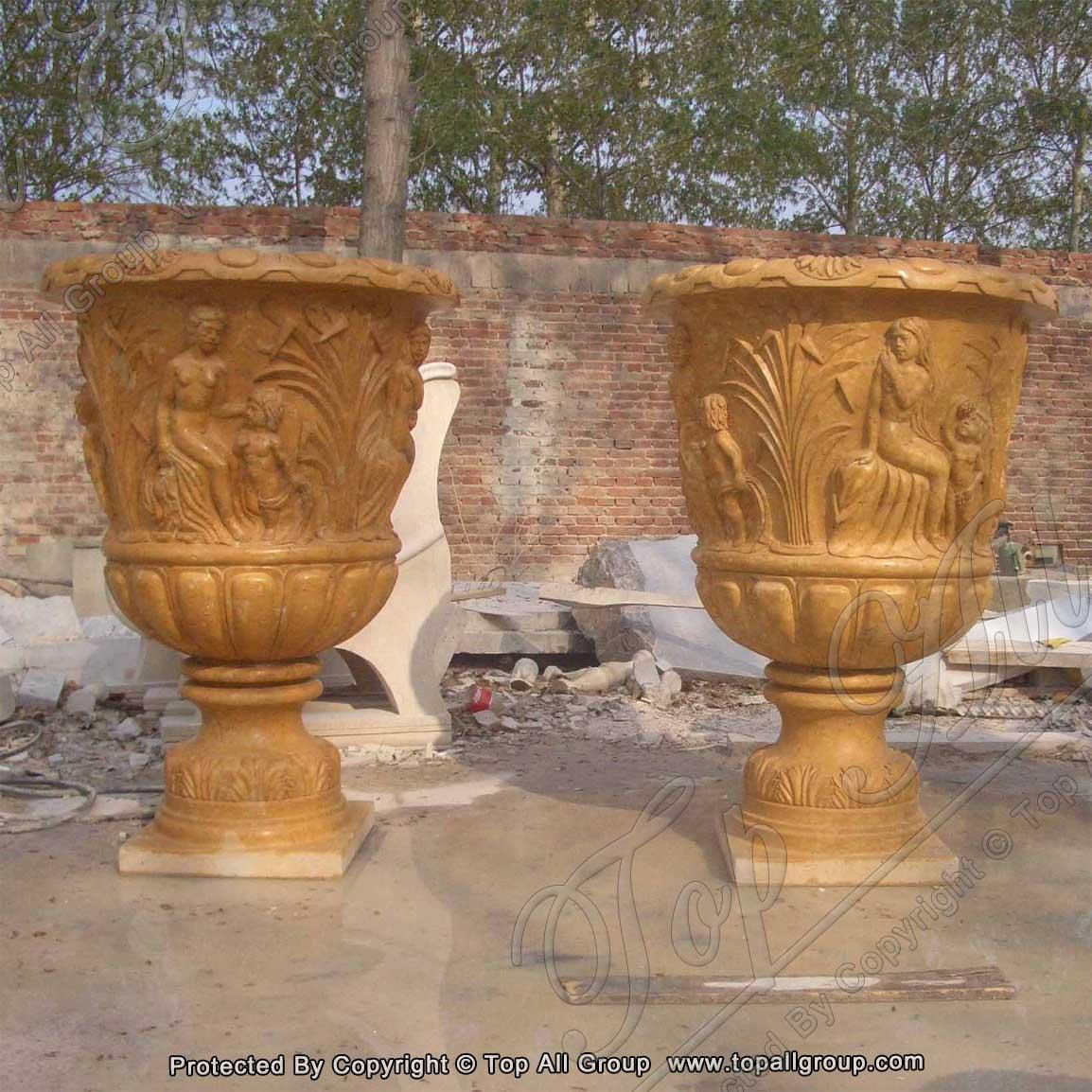 Modern Decorative Vintage Home Garden Marble Stone Flower Pot