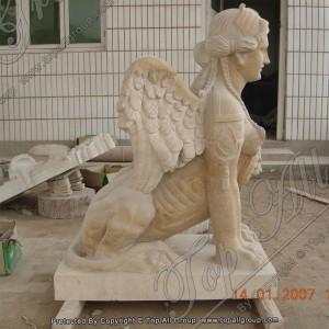 Mythological Hybrid Female Roman Headed Sphinx Yellow Marble Statue TAAS-019
