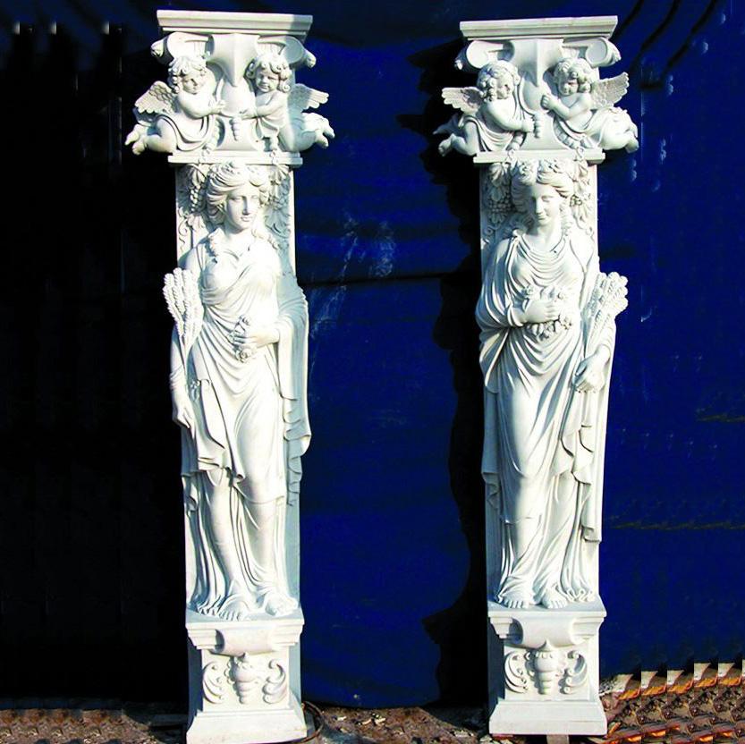 Natural Marble Figure Statue Pillar Design