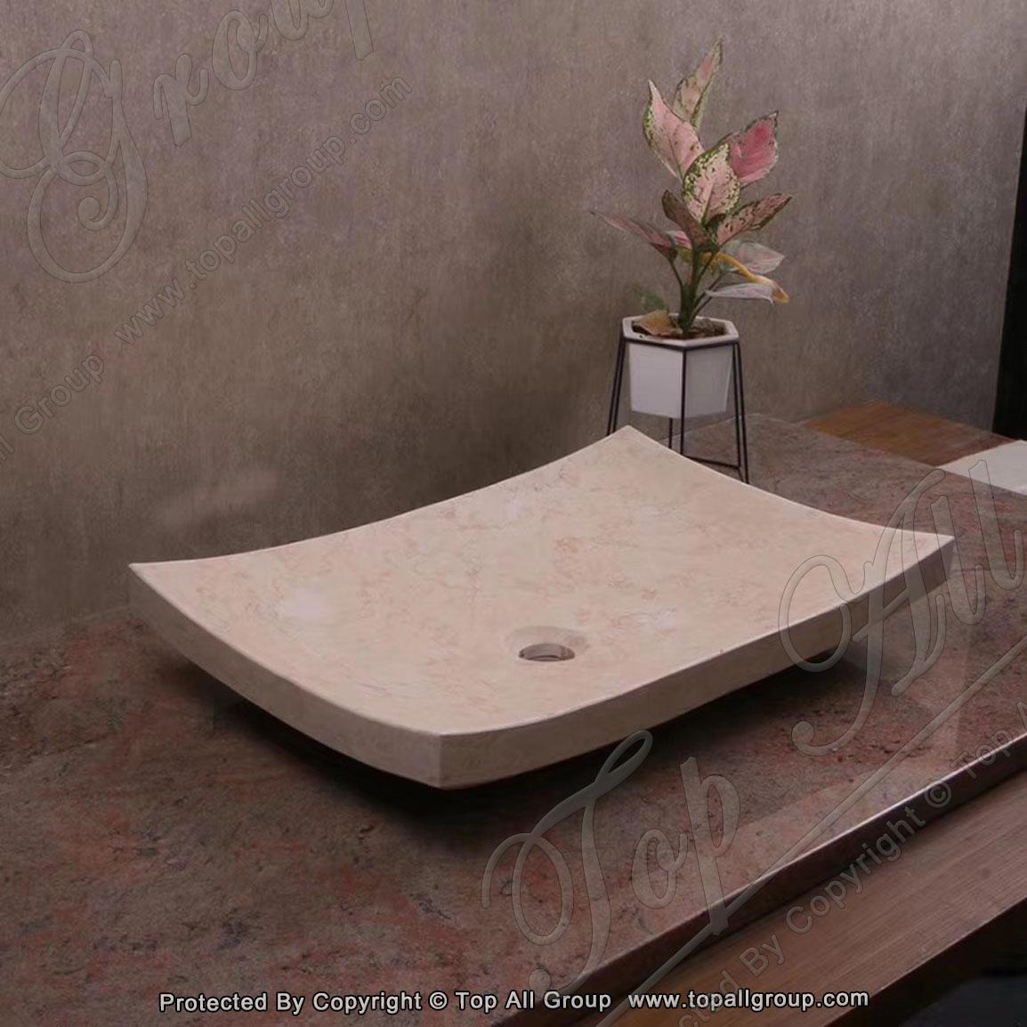 Natural Stone Pedestal Marble Sink for Bathroom