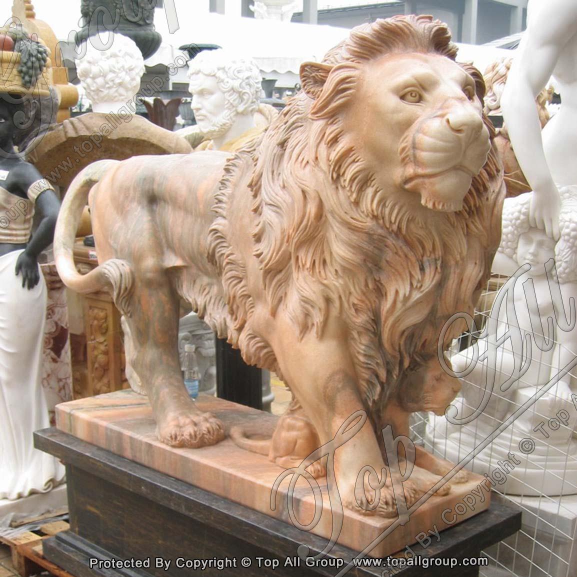 Nature Stone Marble Animal Statue Lion Sculpture