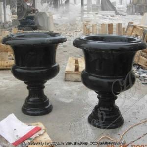 Nature black marble cup shape flower pot TAFV-022